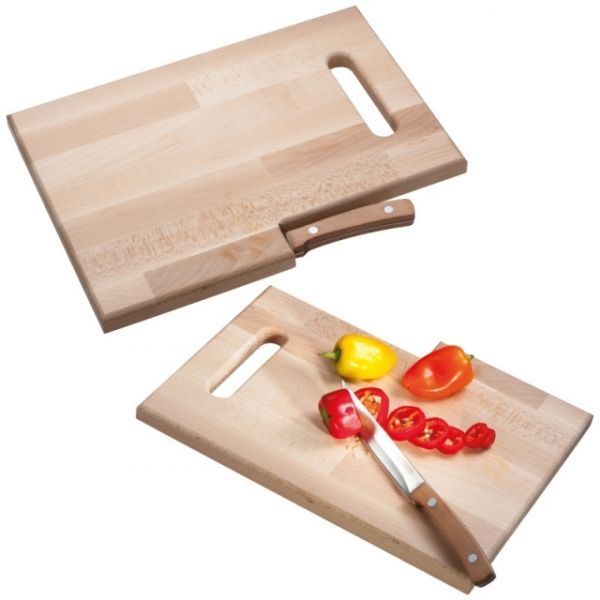 Wooden board with knife