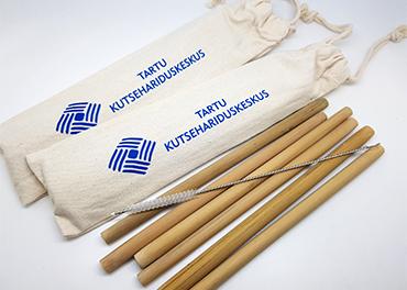 Taaskasutatavad bambuskõrred trükiga