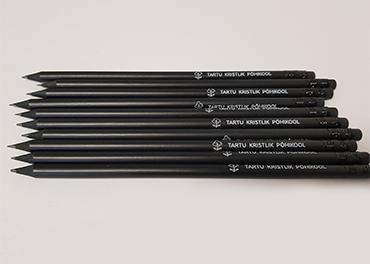 Must harilik matt pliiats tampotrükiga